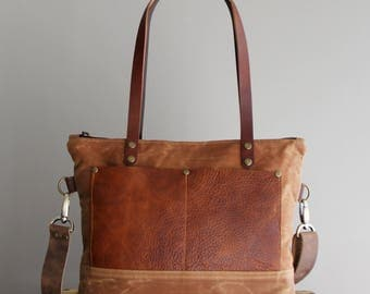 Medium Waxed Canvas Tote in Rust with Cognac Leather Pockets and Handles Cross Body Strap