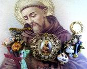 Catholic St. Francis of Assisi, Patron Saint of Animals, Lampwork Religious Hanmade Bracelet