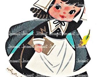 Thanksgiving Clipart - Pilgrim Illustration - Vintage Digital Download - Pilgrim Girl Image - Scrapbook Fall Collage Large JPG PNG Clip Art