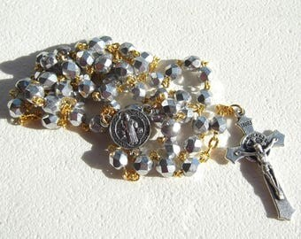 Saint Benedict Silver Glass and Gold Handmade Rosary