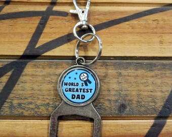 World's Greatest Dad Gift, Bottle Opener Key Chain, Gifts That Give Back, Beer Drinker, #1 Father Briefcase Hook, Special Birthday Present