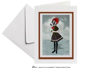 Steampunk Greeting Card - Steampunk Art Card - Steampunk Girl & Rose - Gas Mask Girl - Inhale