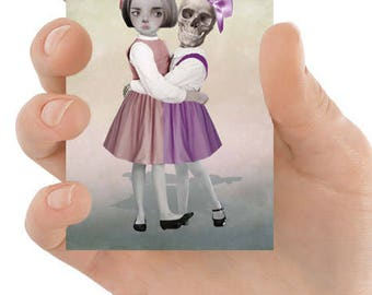 ATC | ACEO Mini Print | Pop Surreal Lowbrow | Skeleton Girl | Big Eyes | ACEO Print | Keep your Friends Close Your Enemies Closer