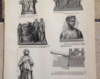 1890 Terra-Cotta and Textiles Antique Illustrations
