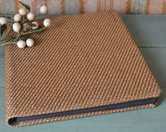 Unused Vintage Amfile Brown Tweed Scrapbook Photograph Album Black Pages