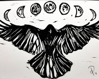 Crow Moon Phases - Original Handcrafted Linoleum Cut Print by Philip Crow