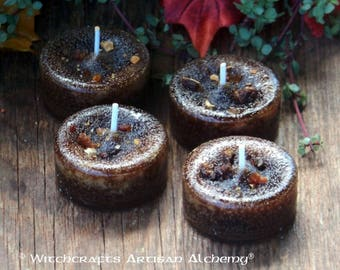 OLD WORLD MYRRH™ Artisan Tealight Candles - Rustic Dark Brown Richly Loaded with Myrrh Resin - Set of 4