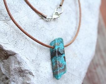 Chrysocolla Necklace, Boho Necklace, Chrysocolla Jewelry, Natural Stone Necklace, Turquoise Stone Pendant, Boho Jewelry, Hippie Necklace
