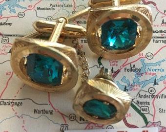 Men's Vintage Jewel Cufflinks Steampunk Cufflinks & Green Jewel Tie Tack 1950's Mid Century Vintage