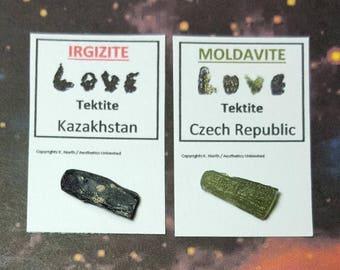 Sale IRGIZITE and MOLDAVITE 2 Small Tektkte Impact Glass Meteorite Tektites From Czech Republic And Kazakhstan