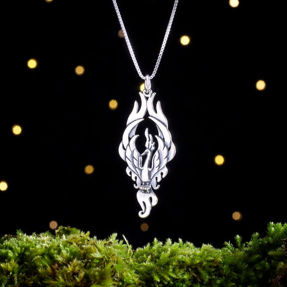 Sterling Silver Phoenix Pendant - Double Sided - (Pendant or Necklace)