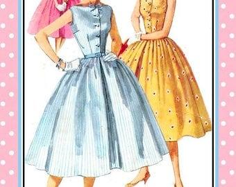 Vintage 1955-FLIRTY TWIRL DRESS-Sewing Pattern-Three Styles-Bateau Neckline-Sweet Collar-Full Gathered Twirl Skirt-Buttons-Bows-Size 12-Rare