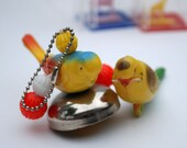 Vintage Crib Toys Parakeets Plastic Baby Rattles Bird Cage Bells Celluloid Noisemaker Novelty Animals Yellow Interactive Budgie