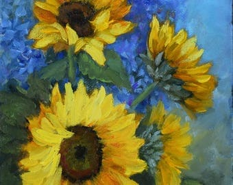 Small Sunflower With Blue Floral Background Still Life Original Canvas Painting by Cheri Wollenberg