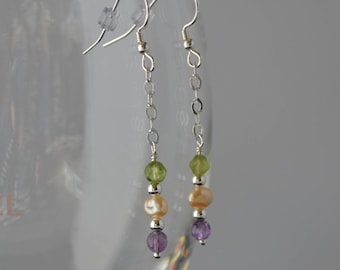 Multi-gemstone Sterling Silver Earrings