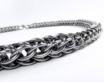 Stainless Steel - Chainmaille Necklace - Full Persian Pattern