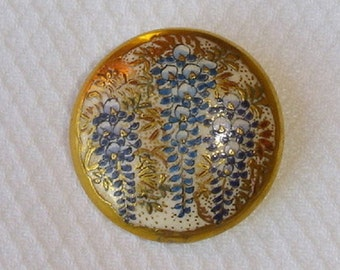 Antique Satsuma Porcelain Button with a Wisteria Flowers in Blue and lots of Gold - Old Japanese Satsuma Button with Wisteria design