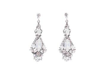 Statement Wedding Earring, Crystal Earrings, Swarovski Crystal Bridal Earring, Long Chandelier Earring, Vintage Wedding Jewelry , White Opal
