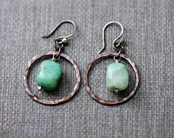 Chrysoprase Earrings | Boho Rustic Earrings | Lightweight Earrings | Copper Jewelry | Blue Green Stone Earrings | Dangle Earrings