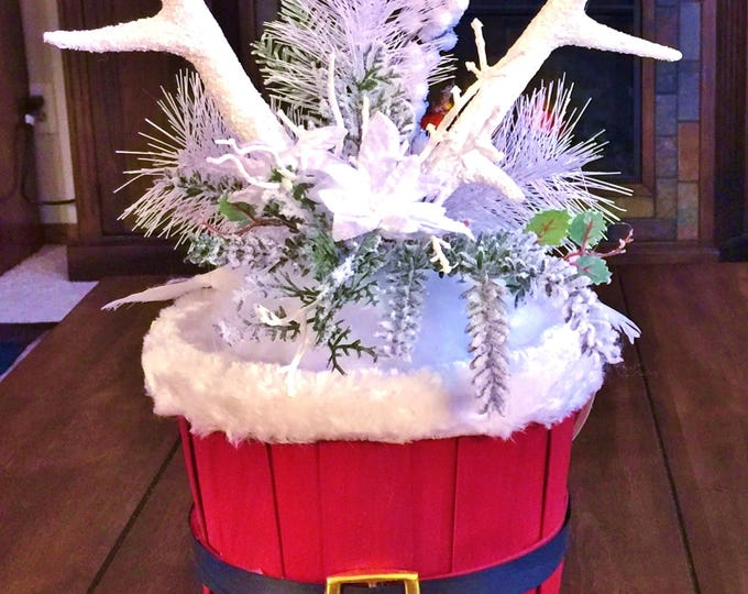 Santa Basket Deer Antlers White Doves Snow Pine Cones - Winter Holiday Christmas Centerpiece