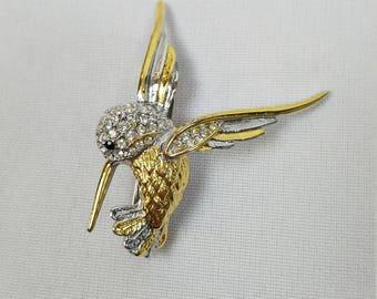 Vintage crystal hummingbird brooch pin rhinestones bird silver gold tone