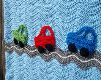Cars Baby Blanket, Crochet Baby Boy Blanket, Cars Blanket, Car Nursery Bedding, Race Car Baby Shower Gift, Red, Blue, Green
