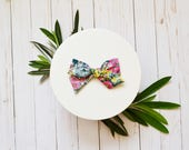 Spring Floral Cotton Simple Classic Hand tied Fabric Bow Nylon or Clip