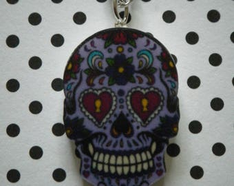 Purple detailed sugar skull charm pendant necklace