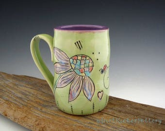 Echinacea and Lady Bug Mug in Lime and Purple - Pottery Mug - Coffee Mug - by DirtKicker Pottery