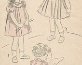 Vintage 40s Advance 5316 Toddlers Girls Pleated Dress with Round Yoke and Puff Sleeves Sewing Pattern Size 3