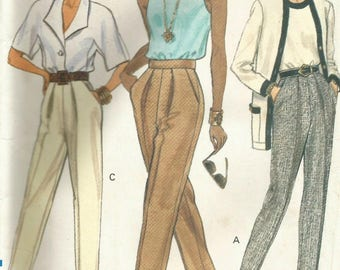 Vintage Vogue 8068 UNCUT Misses Tapered Pleated Pants Sewing Pattern