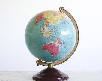 "1950's World Globe / 10"" Replogle Reference Globe / Blue Oceans globe"