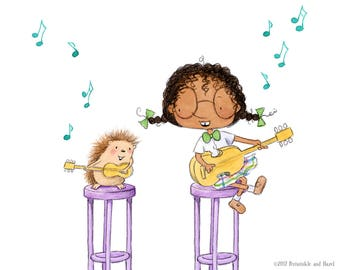 Periwinkle and Hazel Start a Band- Girl Playing Guitar with Hedgehog - Art Print