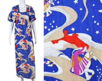 70s Novelty Print Dress Lady Godiva Print Dress 1970s Maxi Dress Boho Wild Print Dress