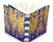 Indigo and Gold Branches Journal - Unlined Journal - French Link Journal - 144 pages - Handmade by Ruth Bleakley