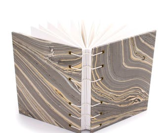 Gray and Gold Agate Journal -  Handmade book with Marbled paper covers made by Ruth Bleakley