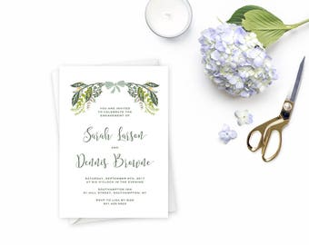 Whimsical Harvest Floral and Greenery Rustic Engagement Party Invitation