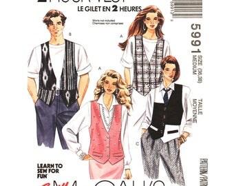 Oversized Loose Vest Sewing Pattern McCalls 5991 Contrast Waistcoat Unisex Size 36 38