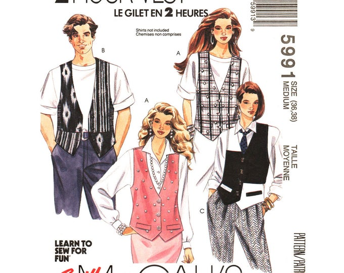Oversized Loose Vest Sewing Pattern McCalls 5991 Contrast Waistcoat Unisex Size 36 38