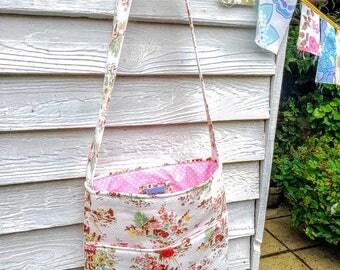 Vintage Barkcloth Happy Shoulder Bag