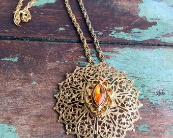 Vintage Brass Filigree Amber Rhinestone Perfume Locket Pendant Necklace