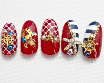 Summer Sail | Nautical Fake False Press On Nails | Red White Blue Nails | 3D Fake Nails | Summer False Nail | Glue On Acrylic Nail