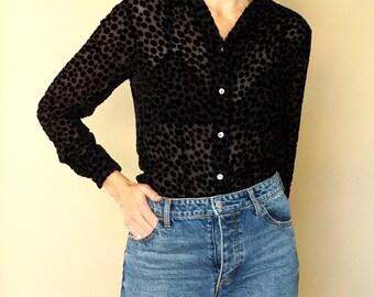 90s black velvet DOT sheer button up blouse S