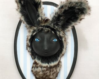Bunny Rabbit Faux Taxidermy Wall Mounted  Pop Surrealism Collectible Figure Phylum Obscura