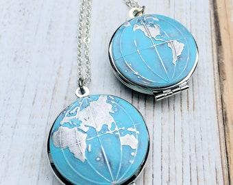 Silver World Map Locket Pendant Blue Globe Necklace Western Hemisphere Gift for Him Eastern Hemisphere  Wanderlust Gift for Her Travel