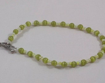 Lime Green Cat's Eye Glass Beaded Bracelet with Toggle Clasp