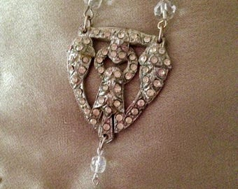 Roaring 20's flapper Art Deco Silver Pendant Crystal Necklace and Earrings