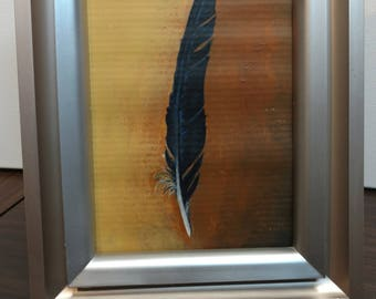 Raven Feather Painting (primary wing feather)