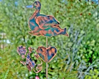 Duck Garden Art Decor Metal Yard Art Stake, Outdoor Metal Sculpture, Copper Garden Marker, Pet Memorial Grave Marker,  Duck Garden Gift
