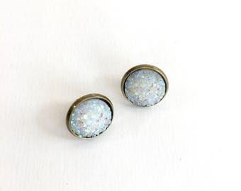 Silver druzy earrings. Glitter earrings. Glittery druzy stud earrings. Holiday jewelry. Party jewelry. Gifts under 10. Stud earrings.
